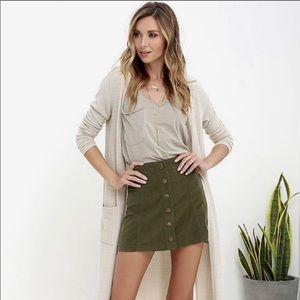 Olive Green Button Down Corduroy Skirt A Line L